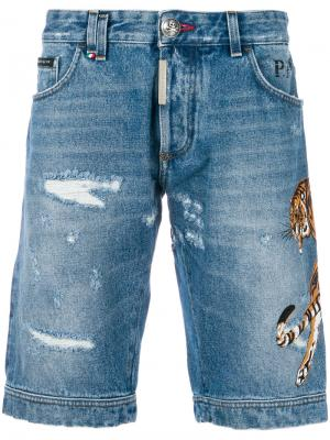 Джинсовые шорты с заплаткой Tiger Philipp Plein. Цвет: синий