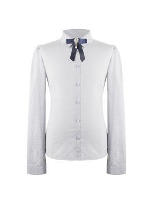 Блузка для девочки с длинным рукавом 7 одежек. Цвет: серый, белый