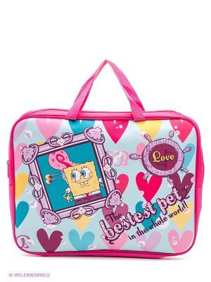 Папка-сумка текстильная Губка Боб Centrum. Цвет: розовый