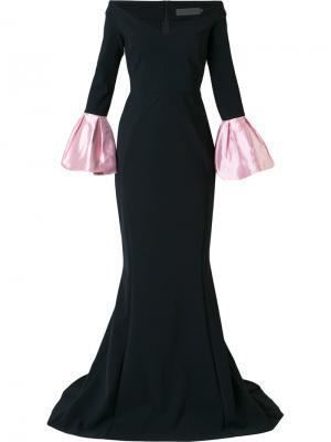 Вечернее платье с заниженной линией плеч Greta Constantine. Цвет: чёрный