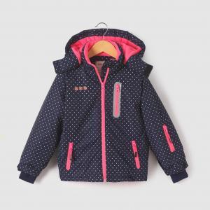 Куртка лыжная с капюшоном,  3-16 лет R essentiel. Цвет: рисунок темно-синий