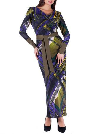 Платье Mannon. Цвет: желто-фиолетовый