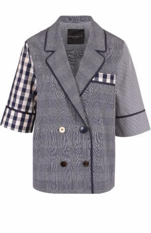 Блуза в пижамном стиле с укороченным рукавом Erika Cavallini. Цвет: синий