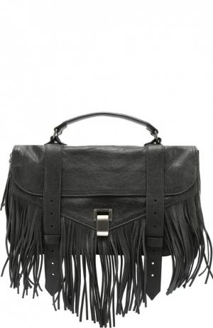 Сумка PS1 Fringe Medium с бахромой Proenza Schouler. Цвет: черный