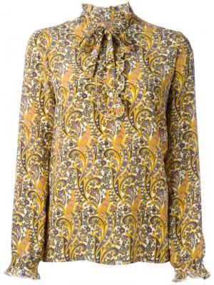 Блузка  с принтом пейсли Fay. Цвет: жёлтый и оранжевый