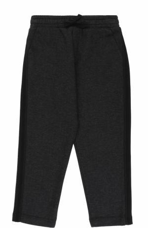 Хлопковые брюки прямого кроя с лампасами на кулиске Dolce & Gabbana. Цвет: темно-серый