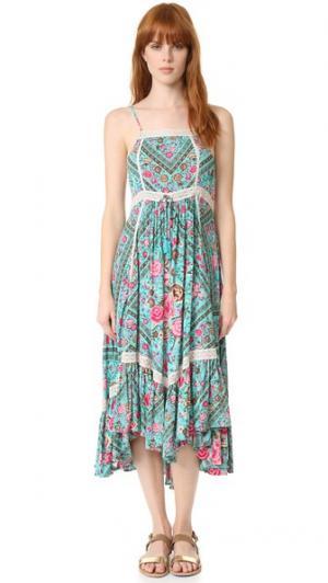 Миди-платье Babushka SPELL. Цвет: бирюзовый