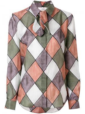 Рубашка с ромбами и завязкой Isa Arfen. Цвет: многоцветный