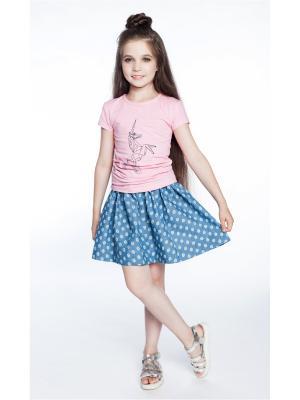 Комплект: футболка, юбка Sheldi. Цвет: розовый, голубой
