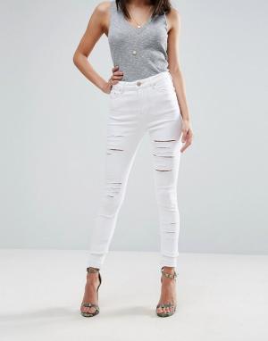 ASOS Белые рваные джинсы скинни RIDLEY. Цвет: белый