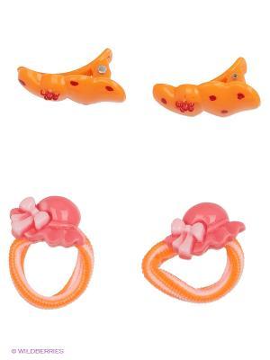 Мини-набор заколок для волос  Шляпка Русский бант. Цвет: оранжевый