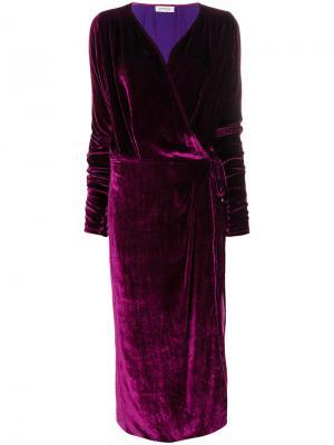 Бархатное платье с запахом Attico. Цвет: розовый и фиолетовый