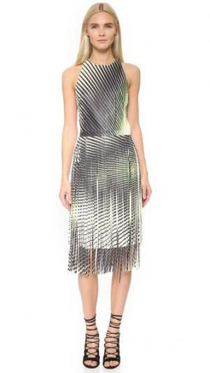 Кожаное платье с принтом и бахромой Tamara Mellon. Цвет: зеленый