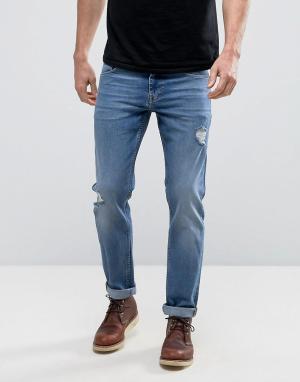 ASOS Выбеленные рваные узкие джинсы стретч. Цвет: синий