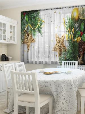 Фототюль для кухни Блестки ZLATA KORUNKA. Цвет: зеленый, кремовый
