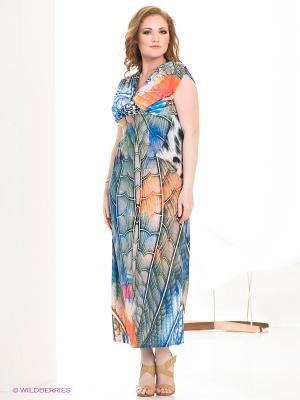 Платье МадаМ Т. Цвет: зеленый, оранжевый, синий