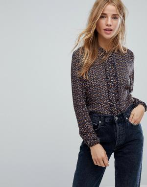 Esprit Рубашка со сплошным цветочным принтом. Цвет: синий