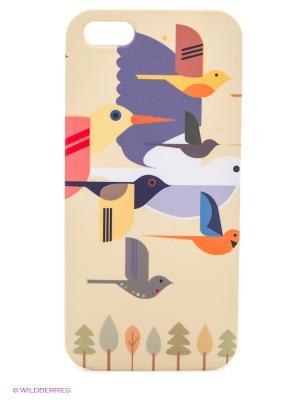 Чехол для IPhone 5 Птицы на желтом Mitya Veselkov. Цвет: бежевый