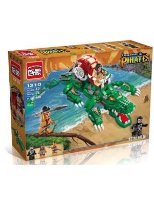 Конструктор Крокодил с фигурками, 538 дет. ENLIGHTEN. Цвет: синий, зеленый, коричневый