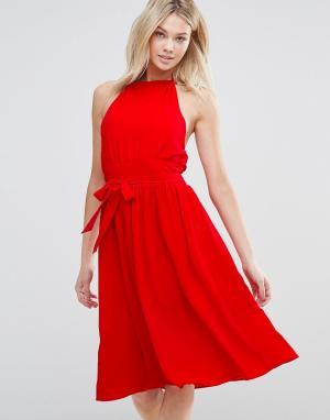 D.RA Платье с поясом Arnie. Цвет: красный