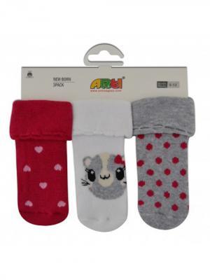 Носки махровые, 3 шт. ARTI. Цвет: серый меланж, красный, белый