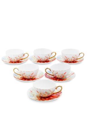 Чайный н-р на 6 перс. Фиор Элеганта (Pavone) Pavone. Цвет: красный, голубой