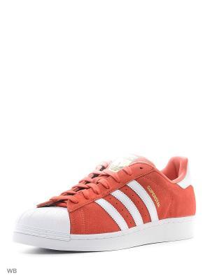 Кроссовки SUPERSTAR SUEDE Adidas. Цвет: красный, белый