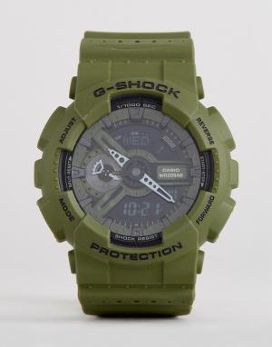 G Shock Зеленые цифровые часы на силиконовом ремешке G-Shock GA-110LP-3AER. Цвет: зеленый