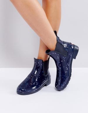 Hunter Резиновые ботинки челси с принтом созвездий Refined. Цвет: темно-синий
