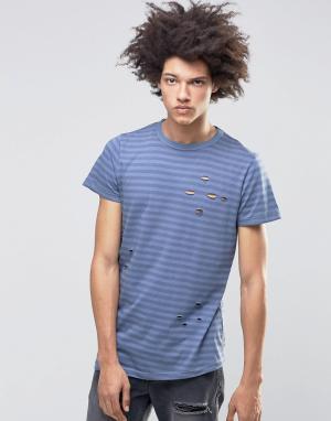 Systvm Рваная футболка в полоску Meter. Цвет: синий