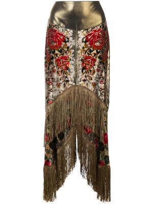 Юбка с неравномерным подолом и бахромой Anna Sui. Цвет: чёрный