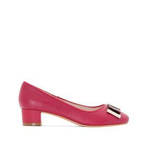 Балетки кожаные на каблуке ANNE WEYBURN. Цвет: фуксия