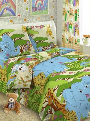 Детский комплект постельного Джунгли, 1,5-спальный, наволочка 50*70, хлопок Letto. Цвет: зеленый, бежевый, голубой