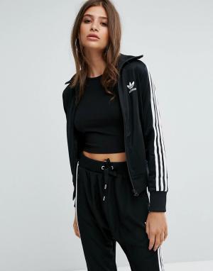 Adidas Originals Спортивная куртка с тремя полосками. Цвет: черный