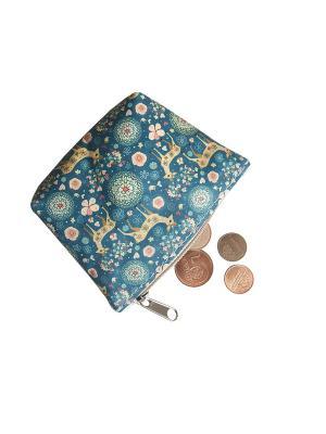 Кошелек для монет Кажан. Цвет: синий, светло-бежевый