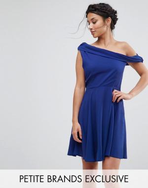 John Zack Petite Платье мини на одно плечо. Цвет: синий