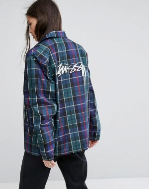 Stussy Спортивная куртка бойфренда с принтом тартан. Цвет: мульти