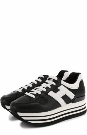 Кожаные кроссовки на контрастной платформе Hogan. Цвет: черный