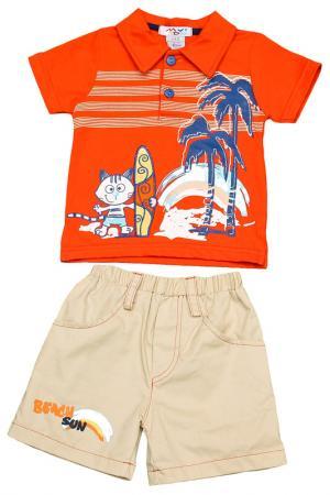 Комплект: шорты, поло My Kids. Цвет: оранжевый