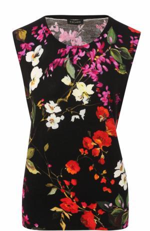 Топ с круглым вырезом и цветочным принтом Escada. Цвет: черный