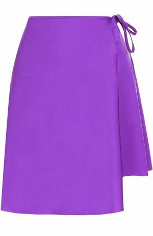 Мини-юбка асимметричного кроя с запахом Balenciaga. Цвет: фиолетовый