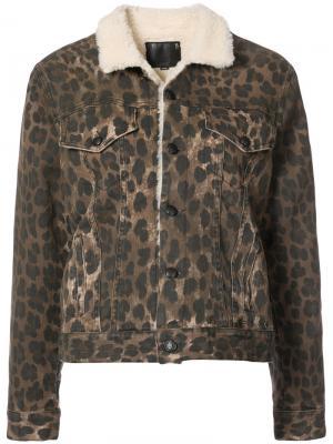 Куртка на кнонпках  с леопардовым принтом R13. Цвет: коричневый