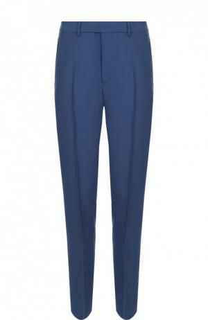 Шерстяные брюки прямого кроя с лампасами Valentino. Цвет: синий