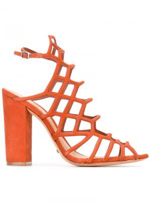 Босоножки на каблуках с сетчатой отделкой Schutz. Цвет: жёлтый и оранжевый