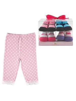 Комплект Лосины , 1 пара, + Носочки, 4 пары Luvable Friends. Цвет: розовый