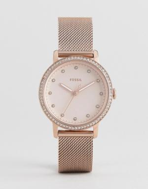 Fossil Розово-золотистые часы 34 мм с сетчатым браслетом ES4364 Neely. Цвет: золотой
