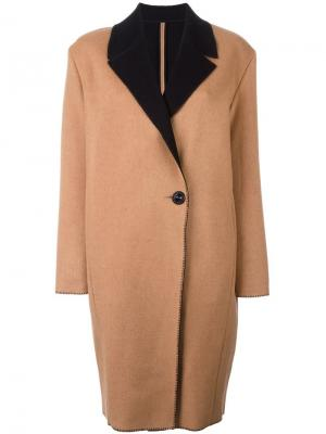 Однобортное пальто Fausto Puglisi. Цвет: коричневый