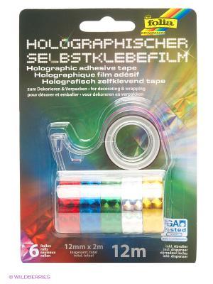 Голографическая клейкая лента, 6 шт. на диспенсере FOLIA. Цвет: синий