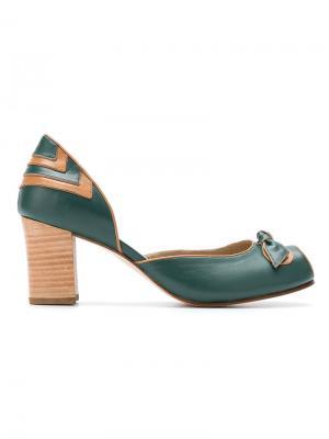 Peep toe pumps Serpui. Цвет: зелёный