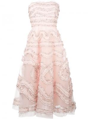 Расклешенное платье без бретелей Sachin And Babi. Цвет: розовый и фиолетовый
